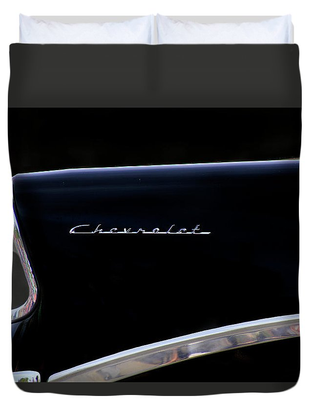 Chevy Duvet Cover featuring the photograph Black Chevy by Pauline Darrow