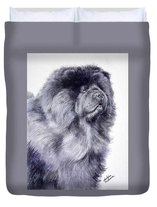 Dog Duvet Cover featuring the painting Black Chow Chow by Christopher Shellhammer