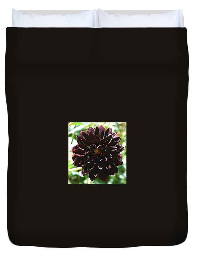 Flower Duvet Cover featuring the photograph Black Dalia by Dean Triolo
