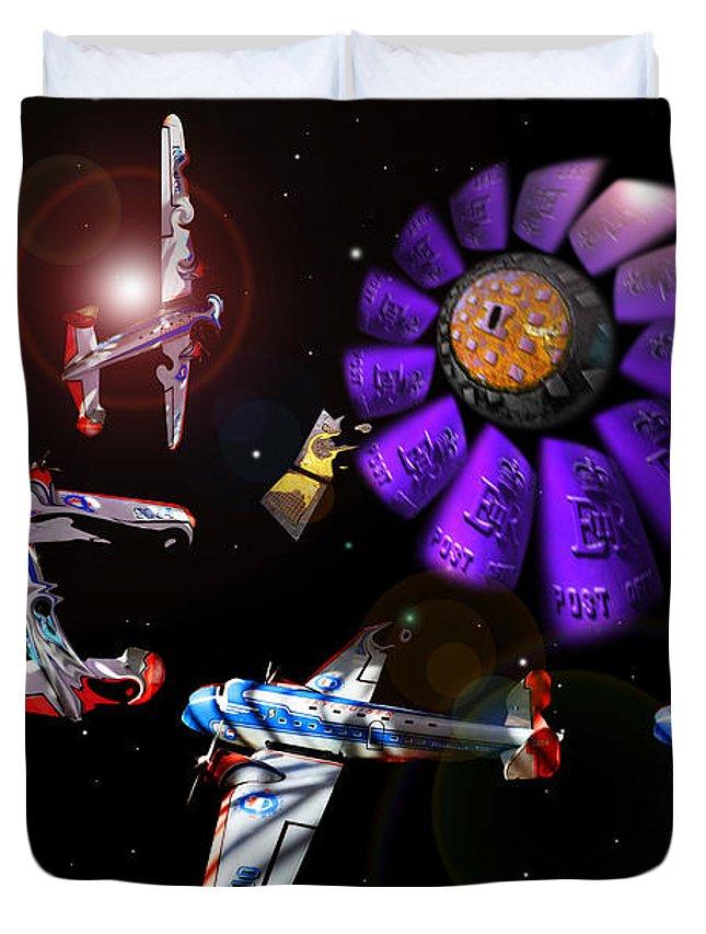Scifi Duvet Cover featuring the digital art Black Dwarf by Charles Stuart