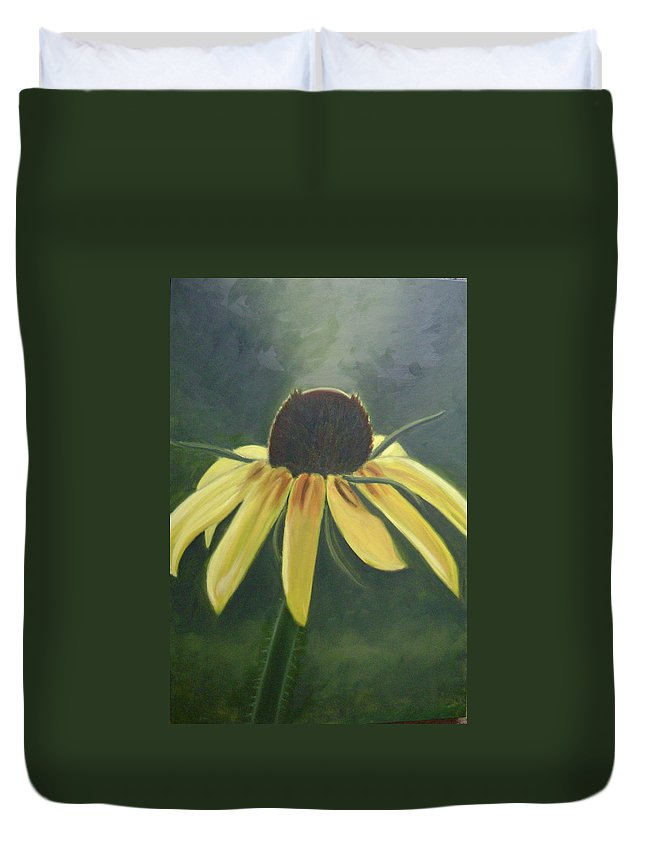 Flower Duvet Cover featuring the painting Black Eyed Susan by Toni Berry