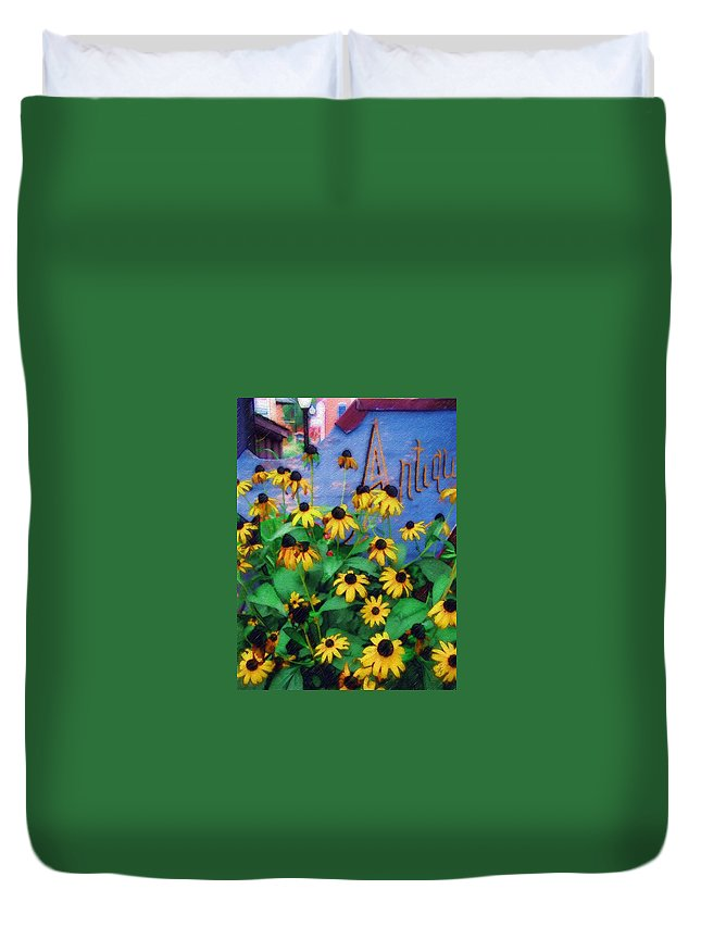 Flowers Duvet Cover featuring the photograph Black-eyed Susans At The Bag Factory by Sandy MacGowan