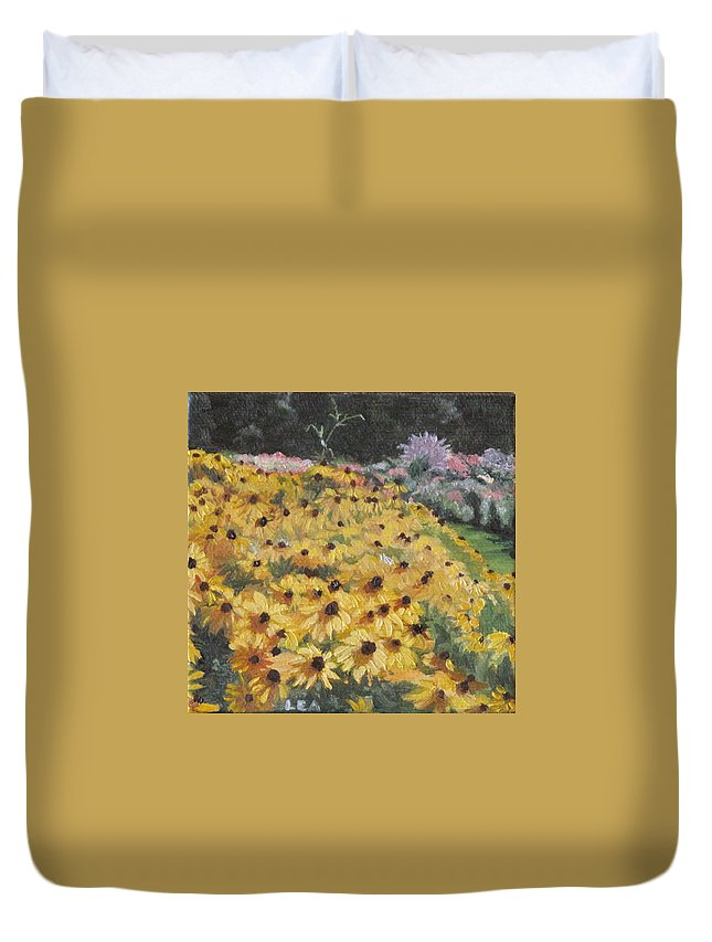Floral Duvet Cover featuring the painting Black-eyed Susans by Lea Novak