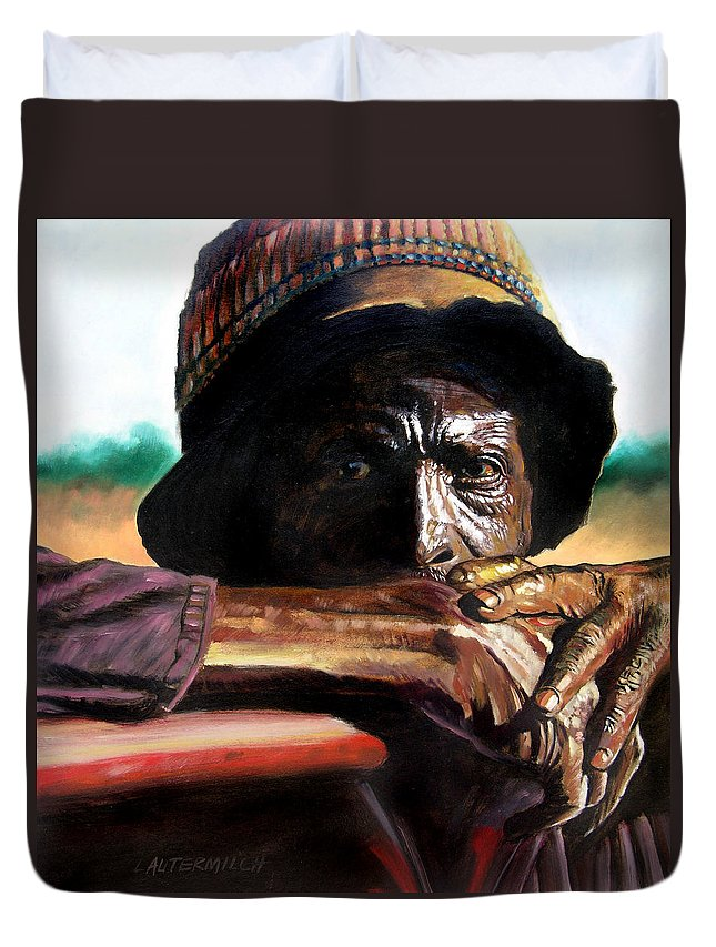 Black Farmer Duvet Cover featuring the painting Black Farmer by John Lautermilch