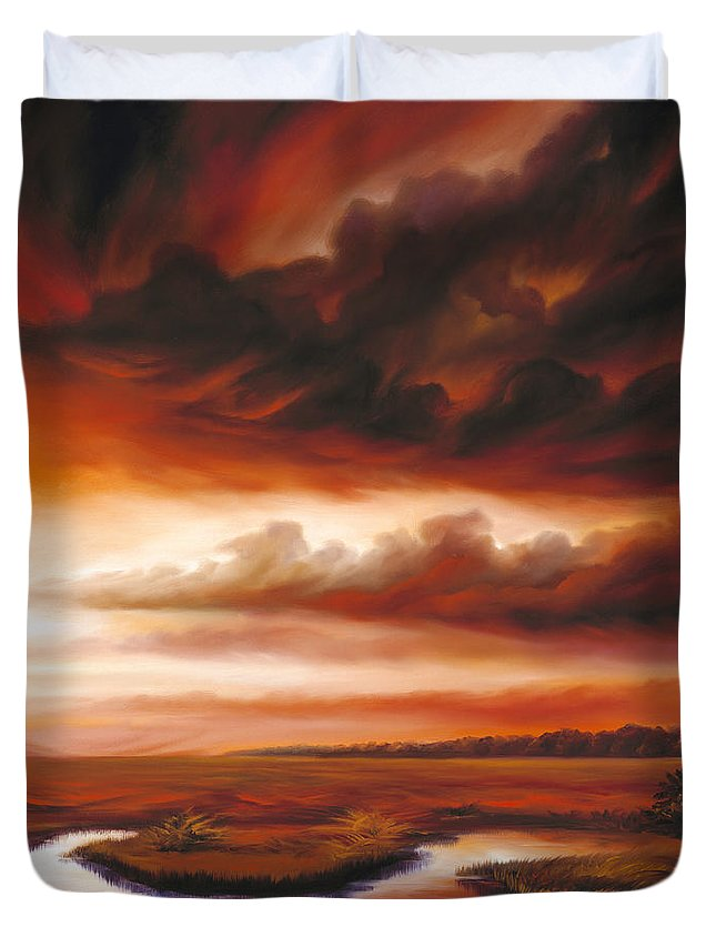 Contemporary Duvet Cover featuring the painting Black Fire by James Christopher Hill