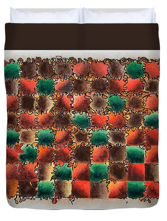 Abstract Duvet Cover featuring the painting Black Forest Cake by Dave Martsolf