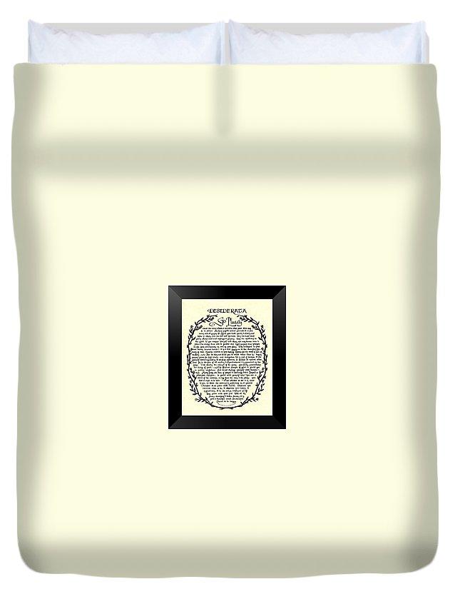 Desiderata Duvet Cover featuring the mixed media Black Border Desiderata Poster by Desiderata Gallery