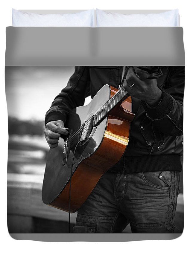 Guitar Duvet Cover featuring the photograph Black Guitar by OnOff