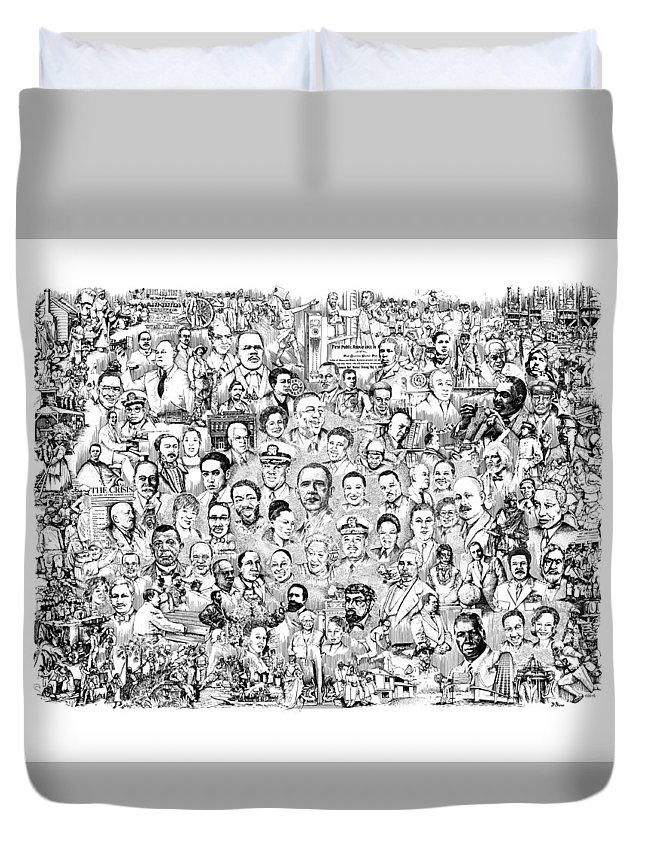 Black History Duvet Cover featuring the drawing Black Heritage by Dennis Bivens