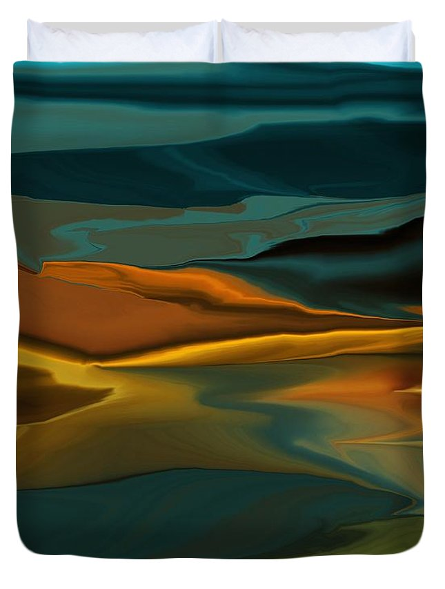 Fine Art Duvet Cover featuring the digital art Black Hills Abstract by David Lane