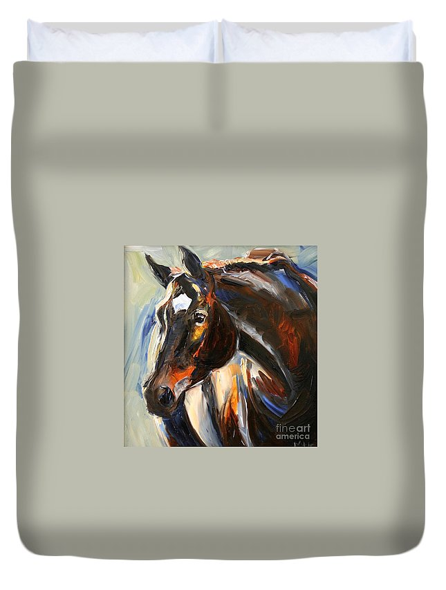 Black Horse Duvet Cover featuring the painting Black Horse Oil Painting by Maria Reichert