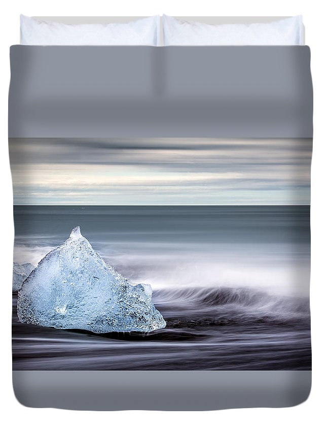 Beach Duvet Cover featuring the photograph Black Ice by Brad Grove
