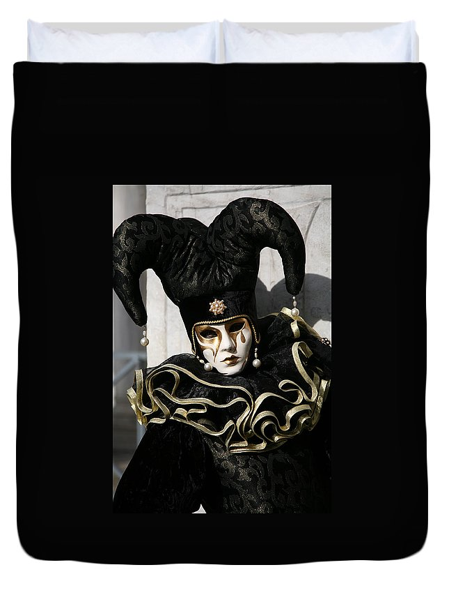 Black Duvet Cover featuring the photograph Black Jester by Donna Corless
