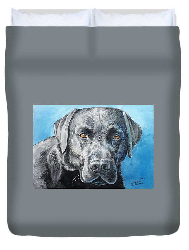 Dog Duvet Cover featuring the painting Black Lab by Christopher Shellhammer