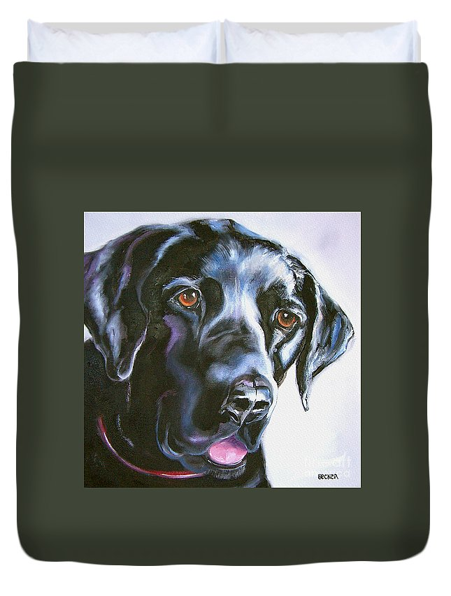 Dogs Duvet Cover featuring the painting Black Lab No Ordinary Love by Susan A Becker