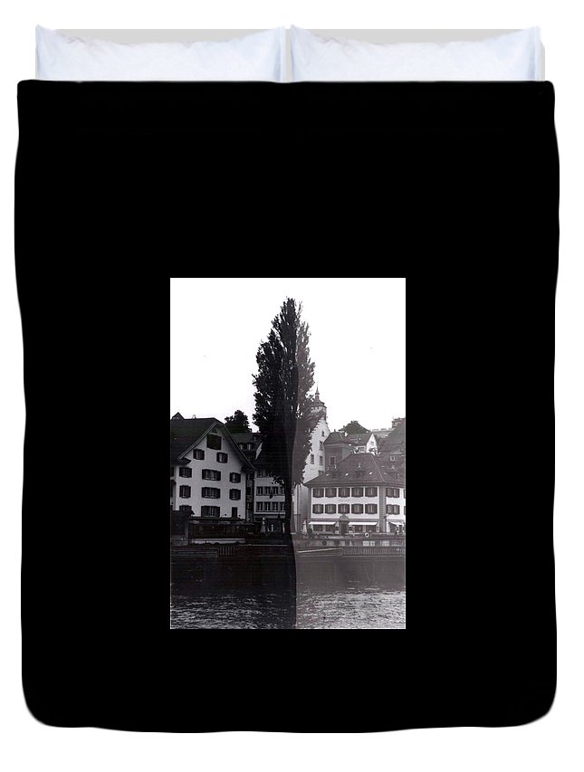 Black And White Duvet Cover featuring the photograph Black Lucerne by Christian Eberli
