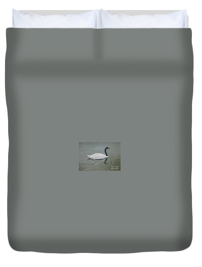Black Necked Swan Duvet Cover featuring the painting Black Necked Swan by Juan Enrique Marquez