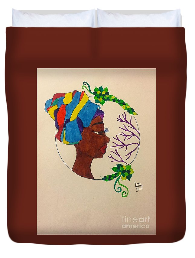 Duvet Cover featuring the drawing Black Nouveau 2 by Lorna Lowe