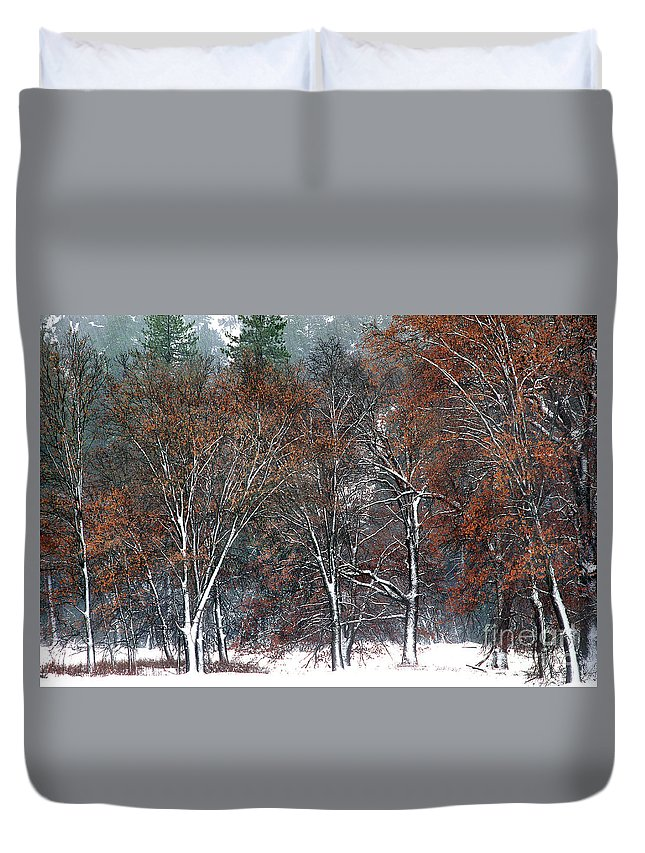 Black Oaks Duvet Cover featuring the photograph Black Oaks In Snowstorm Yosemite National Park by Dave Welling