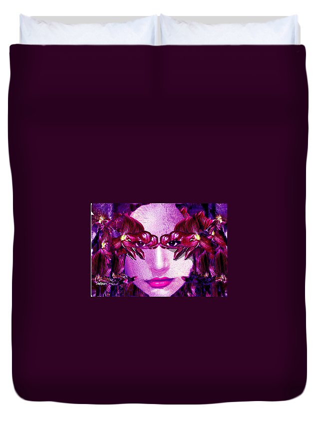 Oriental Duvet Cover featuring the digital art Black Orchid Eyes by Seth Weaver