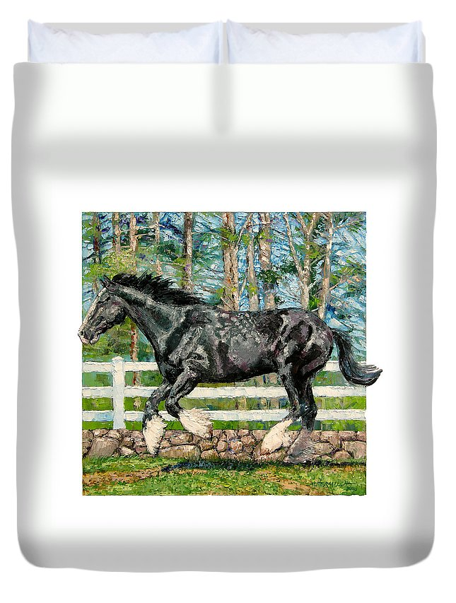 Horse Duvet Cover featuring the painting Black Power by John Lautermilch