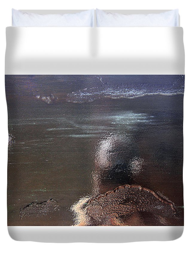 Black Duvet Cover featuring the painting Black Revisited by Robert W Dunlap