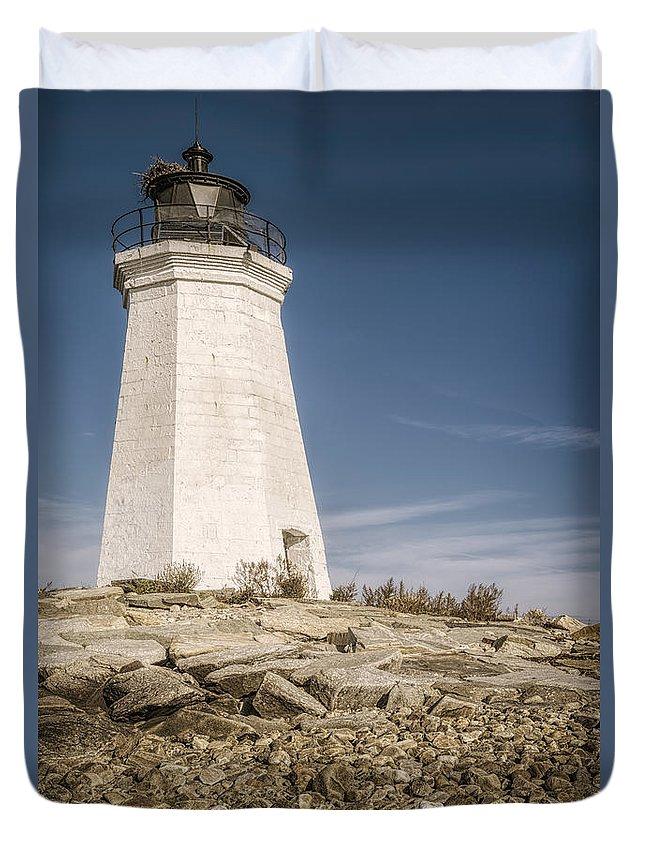Joan Carroll Duvet Cover featuring the photograph Black Rock Harbor Lighthouse II by Joan Carroll