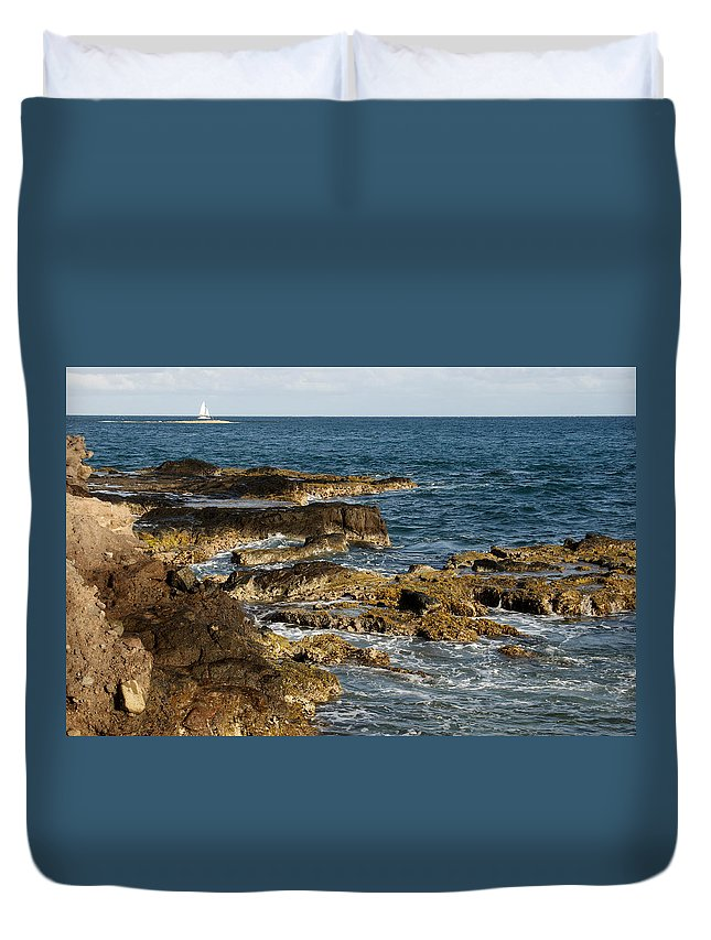 Sailboat Duvet Cover featuring the photograph Black Rock Point And Sailboat by Jean Macaluso