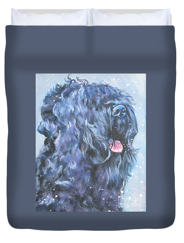 Black Russian Terrier Duvet Cover featuring the painting Black Russian Terrier In Snow by Lee Ann Shepard