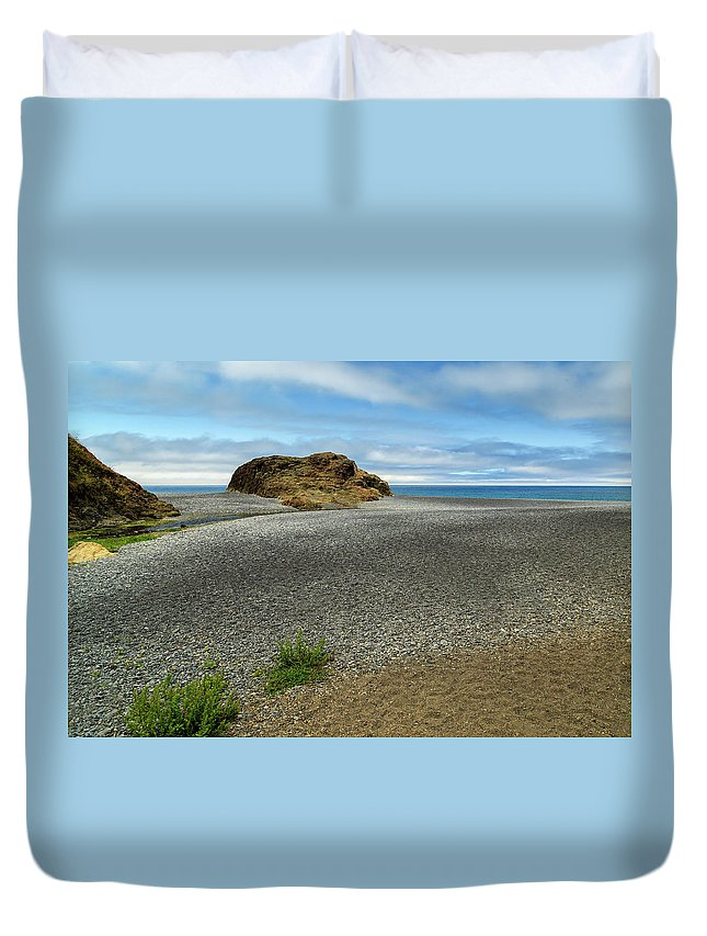 Black Sand Duvet Cover featuring the photograph Black Sand Beach On The Lost Coast by James Eddy
