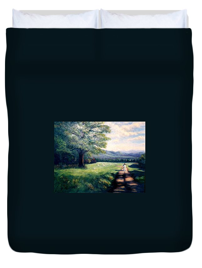 Christian Duvet Cover featuring the painting Black Sheep by Gail Kirtz