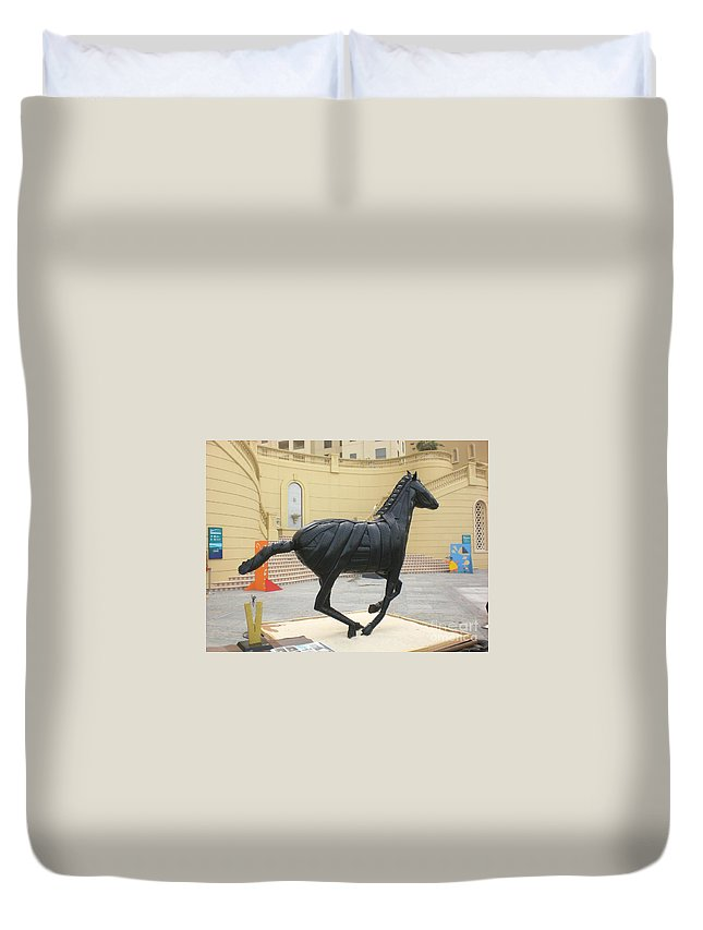 Horse Duvet Cover featuring the sculpture Black Stalion Tyre Sculpture by Mo Siakkou-Flodin