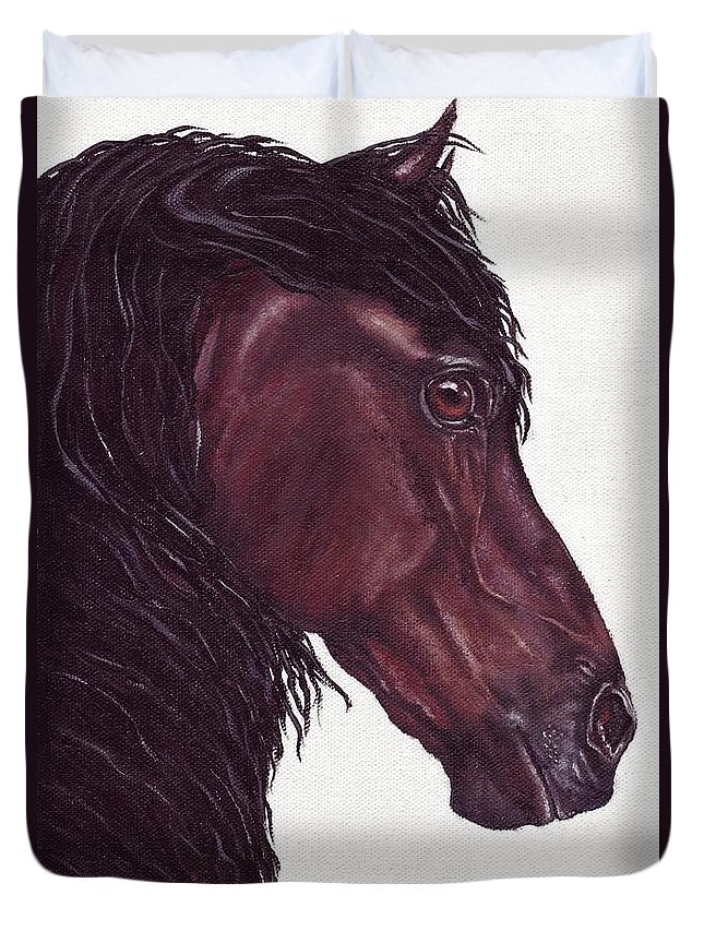 Horse Duvet Cover featuring the painting Black Sterling I by Kristen Wesch