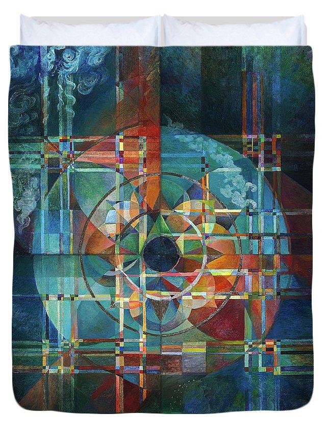 Astrology Duvet Cover featuring the painting Black Sun by Melanie Farmer