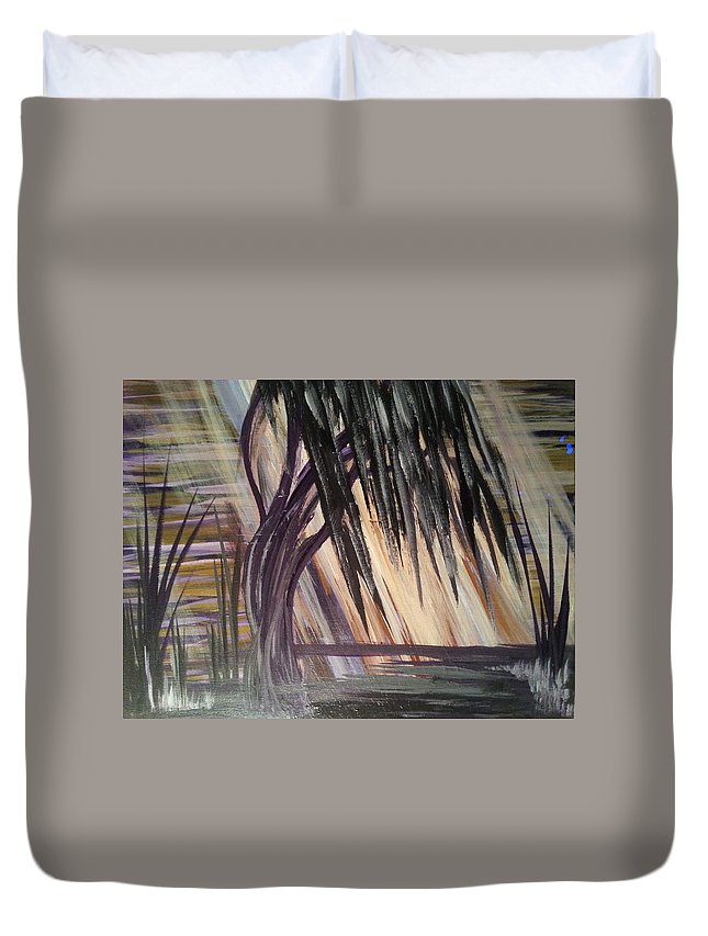 Tree Duvet Cover featuring the painting Black Swamp by Kelly Carpenter