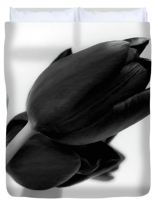 Tulips Duvet Cover featuring the photograph Black Tulips by Wim Lanclus