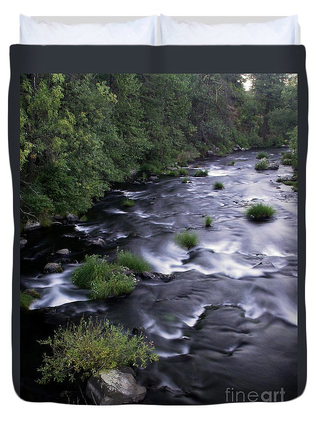 River Duvet Cover featuring the photograph Black Waters by Peter Piatt