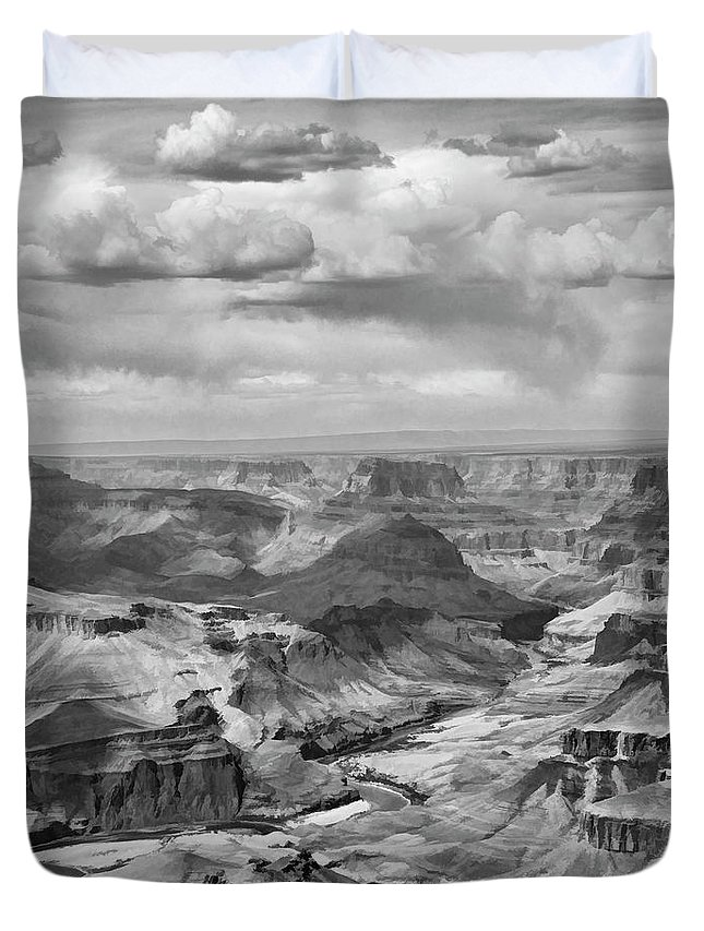 Grand Canyon Duvet Cover featuring the photograph Black White Filter Grand Canyon by Chuck Kuhn