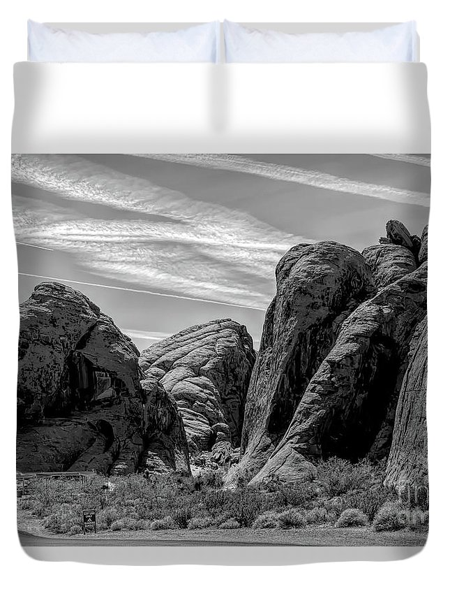 Valley Of Fire Duvet Cover featuring the photograph Black White Valley Of Fire by Chuck Kuhn