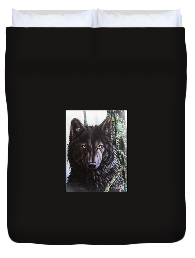 Wolves Duvet Cover featuring the painting Black Wolf by Sandi Baker