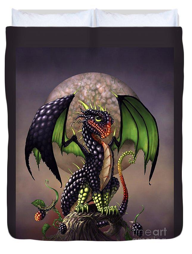 Dragon Duvet Cover featuring the digital art Blackberry Dragon by Stanley Morrison