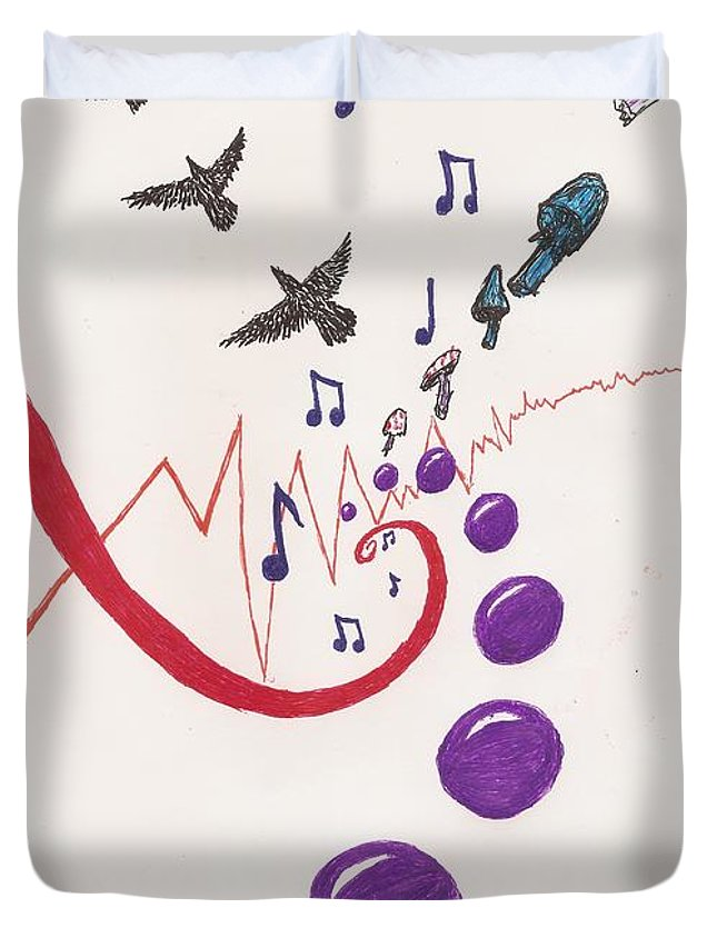 Spheres Duvet Cover featuring the drawing Blackbird Fly by White Rabbit