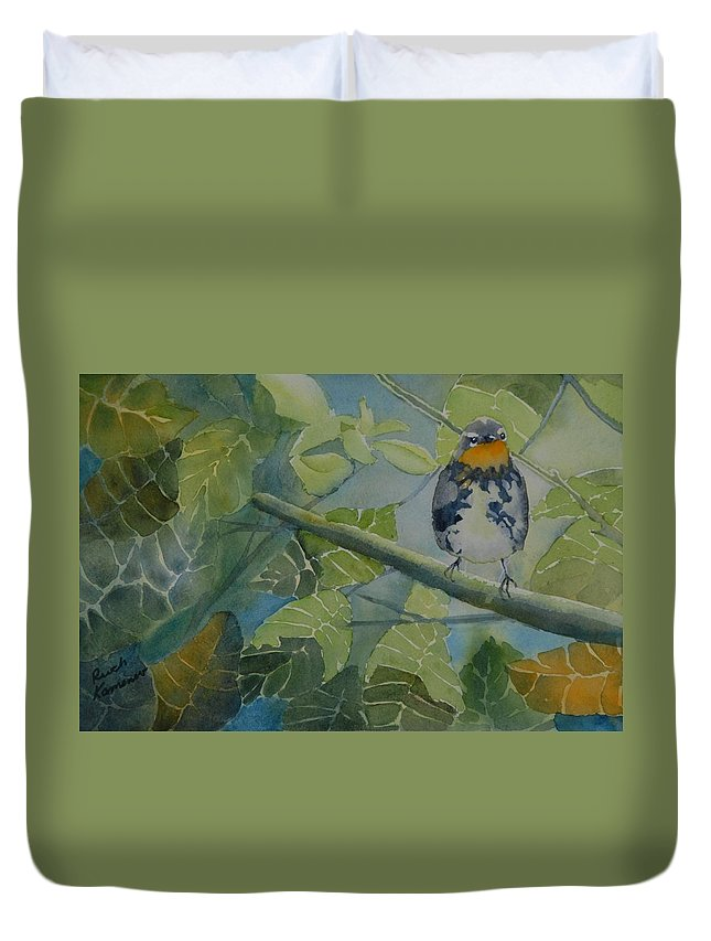 Bird Duvet Cover featuring the painting Blackburnian Warbler I by Ruth Kamenev
