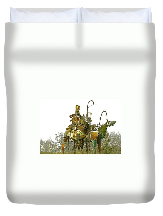 Native American Duvet Cover featuring the photograph Blackfeet Wariors by Nelson Strong