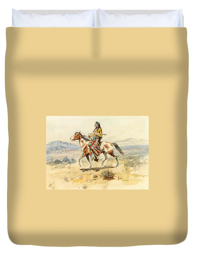 Charles Marion Russell Duvet Cover featuring the painting Blackfoot Indian. A Crow Scout by Charles Marion Russell
