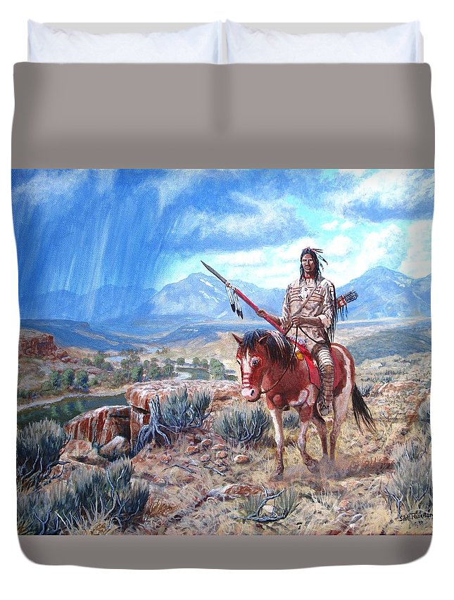 Blackfoot Warrior Duvet Cover featuring the painting Blackfoot Warrior by Scott Robertson
