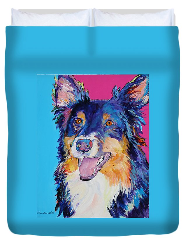 Dog Duvet Cover featuring the painting Blackjack by Pat Saunders-White