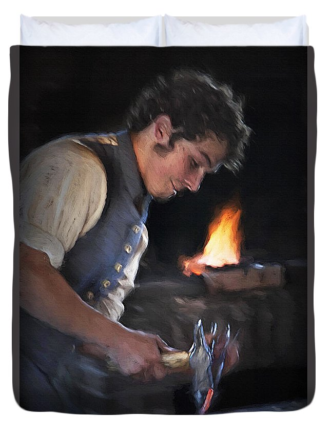 Pioneers Duvet Cover featuring the photograph Blacksmith - Pioneer Village by Steve Ohlsen