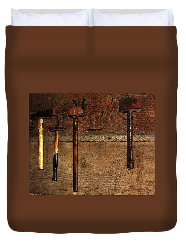 Blacksmith Photographs Duvet Cover featuring the photograph Blacksmith Tools by Kim Henderson
