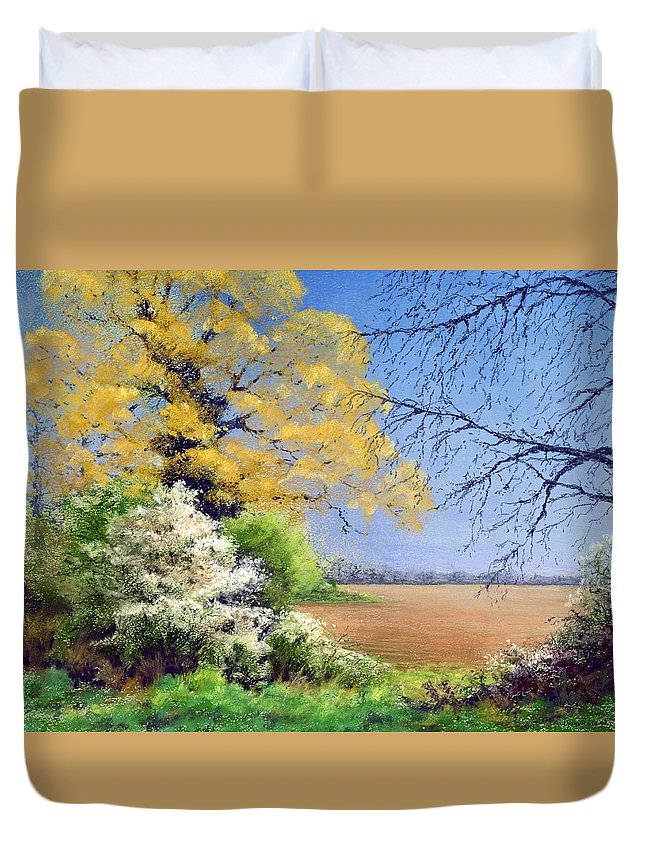 Landscape; Tree; Trees; Field; Nature; Rural; Countryside; Oak Tree; Picturesque; Grass; Blackthorn; Landscape Duvet Cover featuring the painting Blackthorn Winter by Anthony Rule